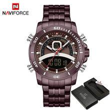 NAVIFORCE Роскошные деловые часы, мужские спортивные цифровые часы с таймером, военные кварцевые золотые наручные часы, мужские водонепроницае...(Китай)