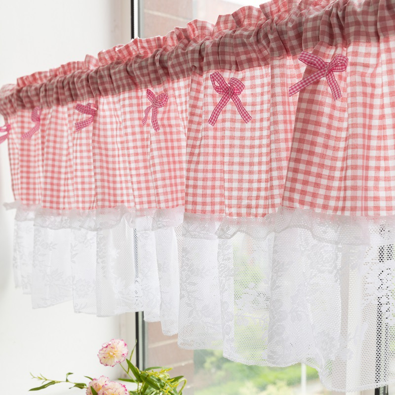 manufacturer supplies plaid stitching embroidered lace valance for the kitchen