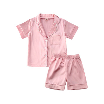 New Design Children's Pajamas Summer Short Sleeve Satin Breathable Boys And Girls Summer Home Kids Pajamas sets