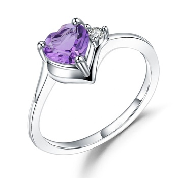 Abiding 925 Sterling Silver Ring Natural Amethyst Gemstone Custom Bijoux Wedding Heart Ring For Women Fine Jewelry