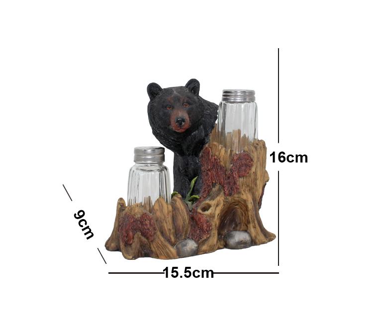 Hot Sale  Home Kitchen Decor Salt Pepper Holder Resin Black Bear Statue Salt & Pepper Bottle Holder Ornaments