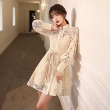 Роскошное кружевное вечернее платье цвета шампанского большого размера 4XL, короткое вечернее платье для женщин, элегантные платья знаменит...(Китай)