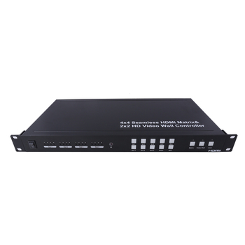 Foxun Seamless HDMI 4x4 Matrix, 4 Independent Outputs with 2x2 Video Wall Controller, Suitable for HDTV,STB