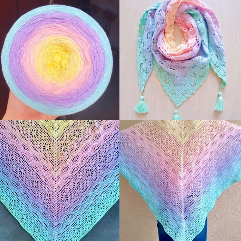 2021 New Product Yarn Art Blended Rainbow Colors Combed Cotton Yarns Crochet Winter Sweaters Scarves Hand knitting Yarn cake