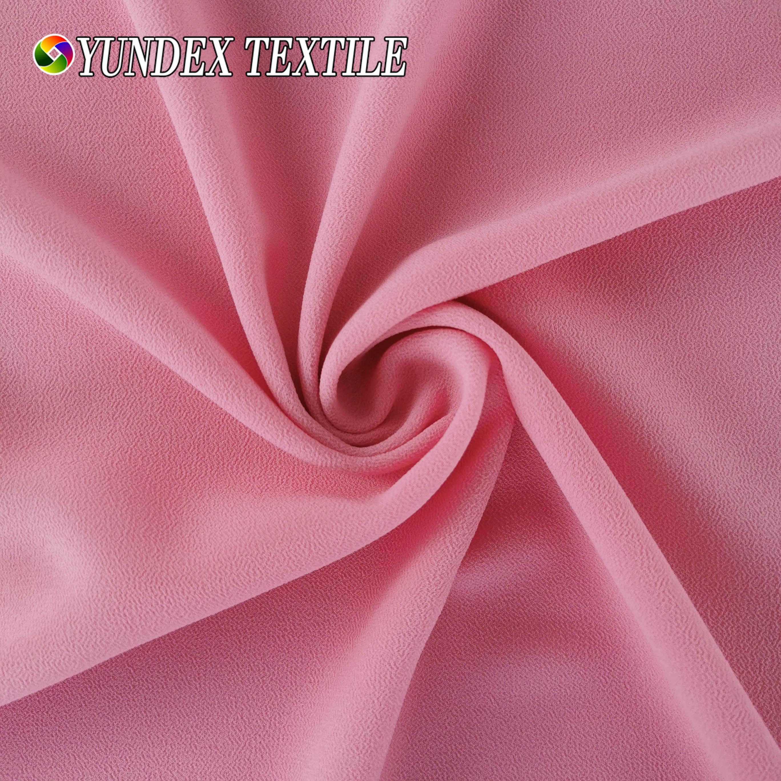 High Quality Georgette Stretch Pearl Chiffon 75D Plain Dyed Premium Ceruty Babydoll Chiffon Fabrics for Maxi Dress and Scarf