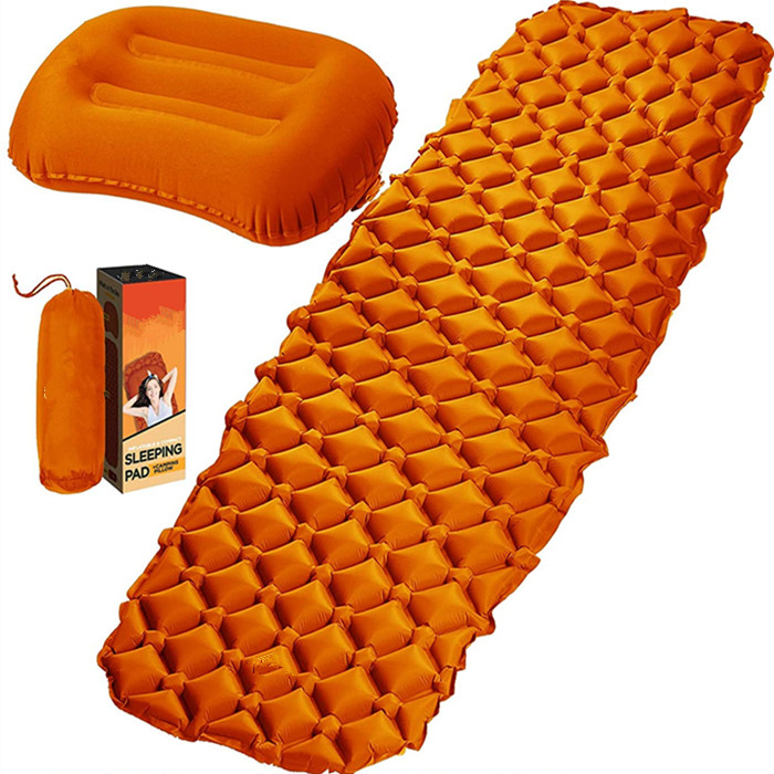 Полноразмерный легкий Самонадувающийся коврик для сна, военный надувной коврик для кемпинга с подушкой