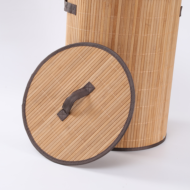 Корзина для белья, складная бамбуковая корзина с крышкой