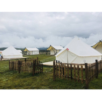 Hot Sale Outdoor China Factory supplier waterproof luxury Camping Beige white 3m 4m 5m 6m 7m glaming canvas wall tent