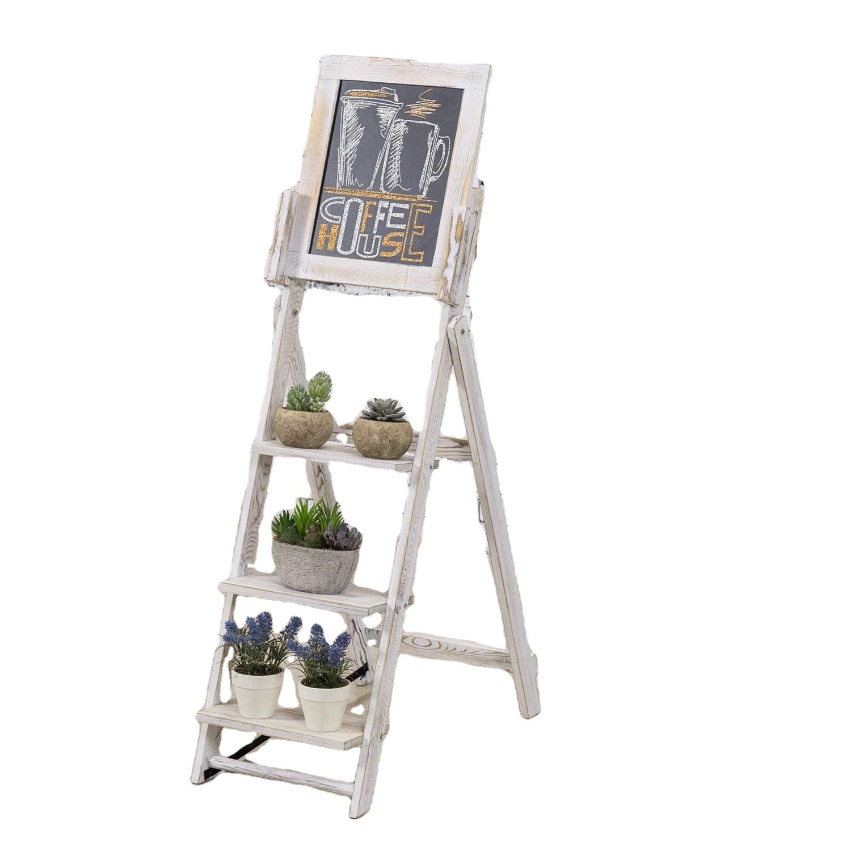 Whitewashed Easel Style Wood Chalkboard Stand with 3 Display Shelves - Yola WhiteBoard | szyola.net