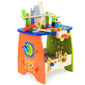 Children Educational Disassembly Tool Table Screw Nut Combination Repair Tool Wooden DIY Assemble Toy