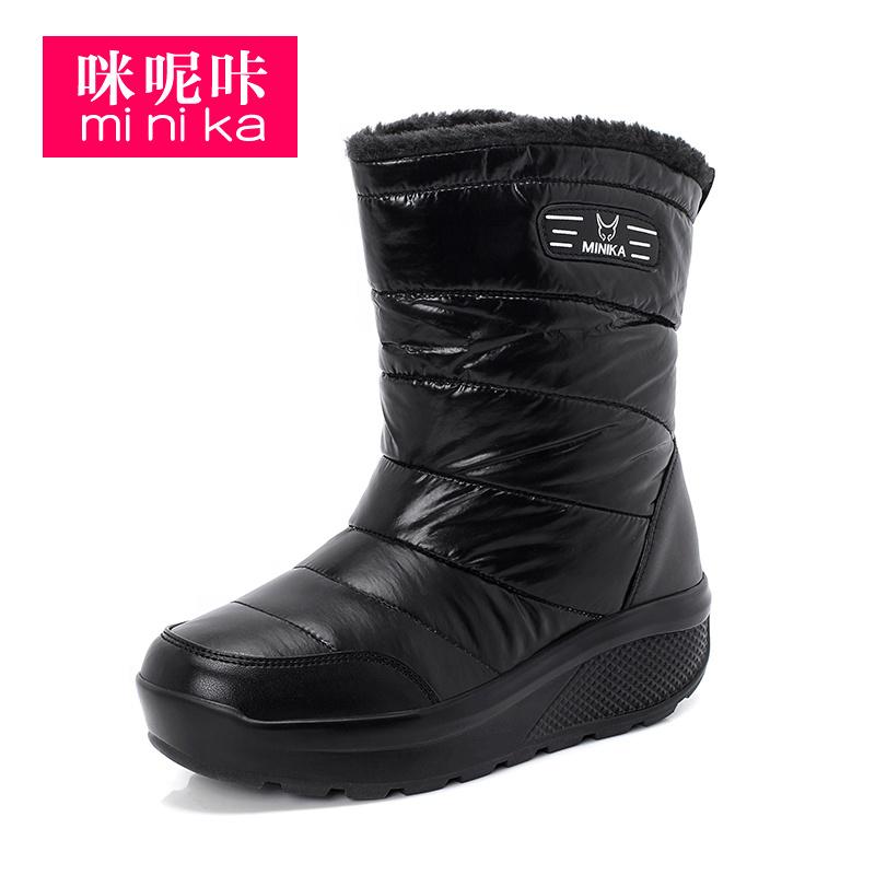 Minika/Лидер продаж; Женские нескользящие водонепроницаемые ботинки; Женские повседневные ботинки из искусственной кожи на резиновой подошве без застежки, визуально увеличивающие рост