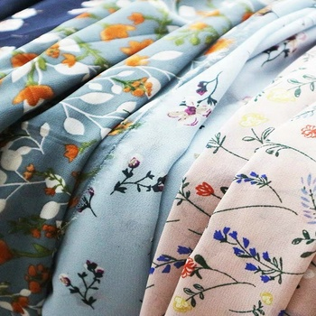 Fonesun-PS479 100% polyester printing bubble crepe chiffon fabric for dress and garment
