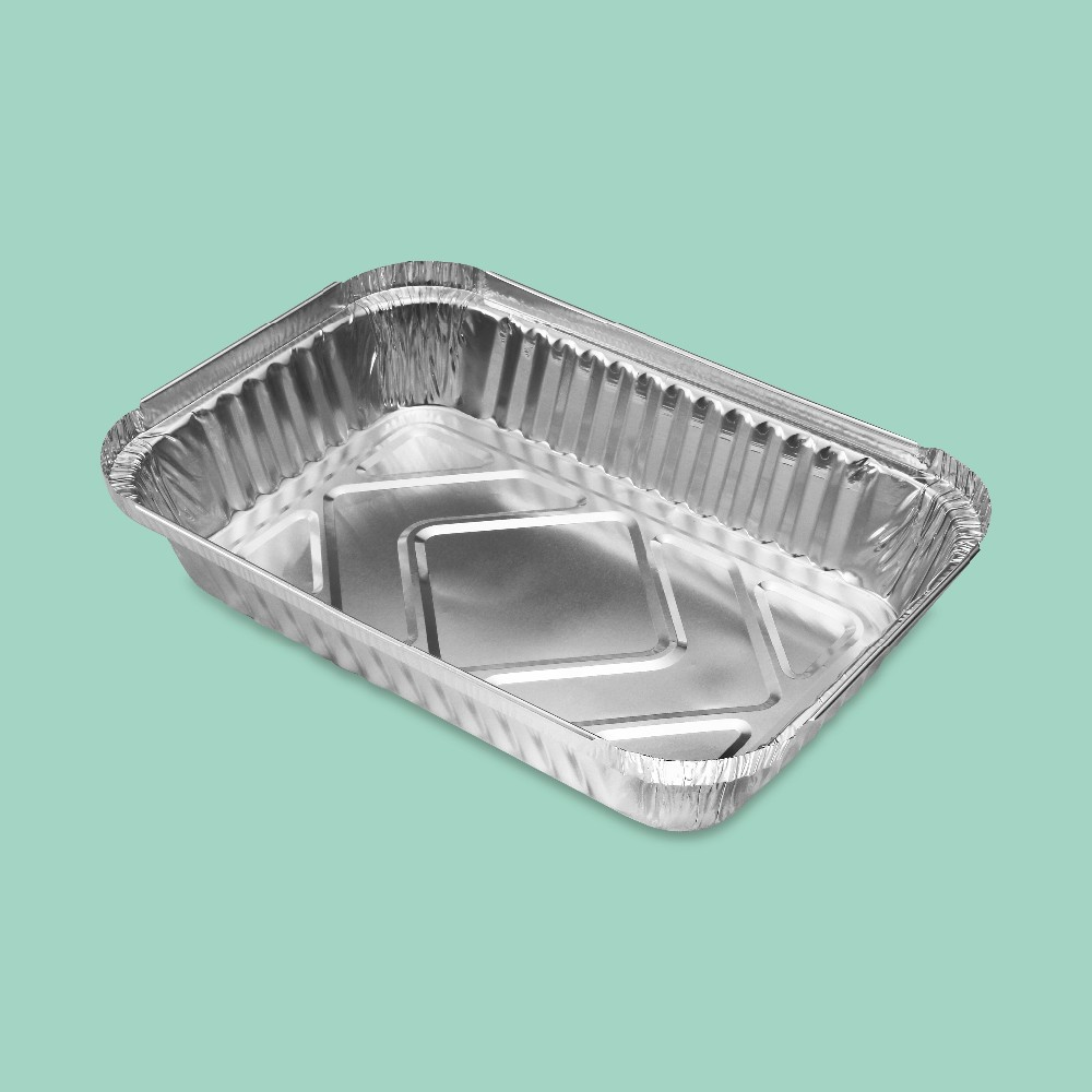 rectangular aluminum food baking tray foil container for catering service
