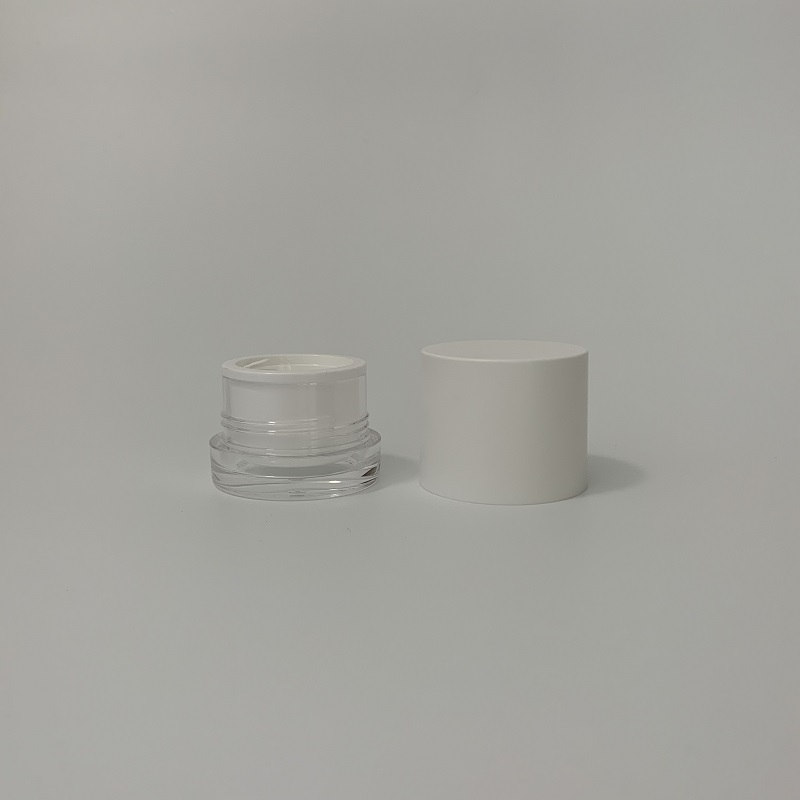 High quality 15g 30g 50g plastic round shape acrylic night cream jar lotion cosmetics container bottle with tall cap