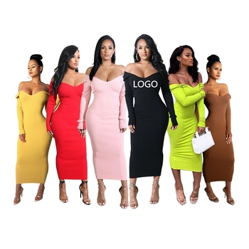 Long Maxi Pullover Off Shoulder V Neck Bodycon Women Sweater Dress