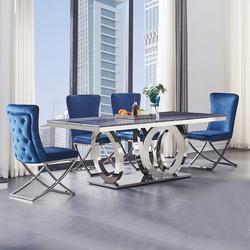 Большой обеденный стол из нержавеющей стали с металлической основой из закаленного стекла