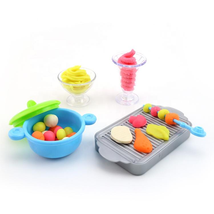 Нетоксичный Игровой набор для приготовления мороженого для барбекю, игрушечная лепка, цветная глина, игровое тесто