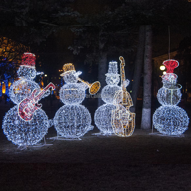 Outdoor 3d Led Lighted Snowman Band Commercial Christmas Light Displays Characters For Commercial Winter Festival Displays View Christmas Lights Displays Characters Christmas Decoration Product Details From Zhongshan Idessic Lighting Factory On