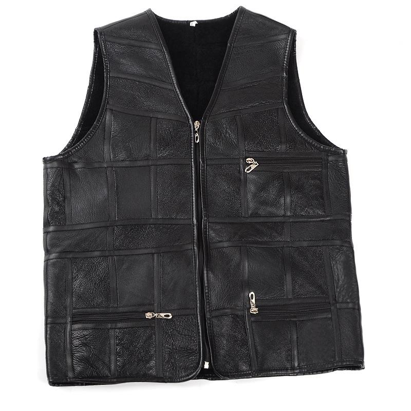 fashion men leather vest Autumn and winter Sheepskin wool Vest leather vest motorcycle leather biker customized Jacket