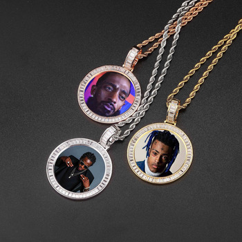 New Arrival Hot Selling Custom Picture Memory Lock Pendant Necklace Crystal Twisted Chain and Cubic Zircon Pendant Necklace