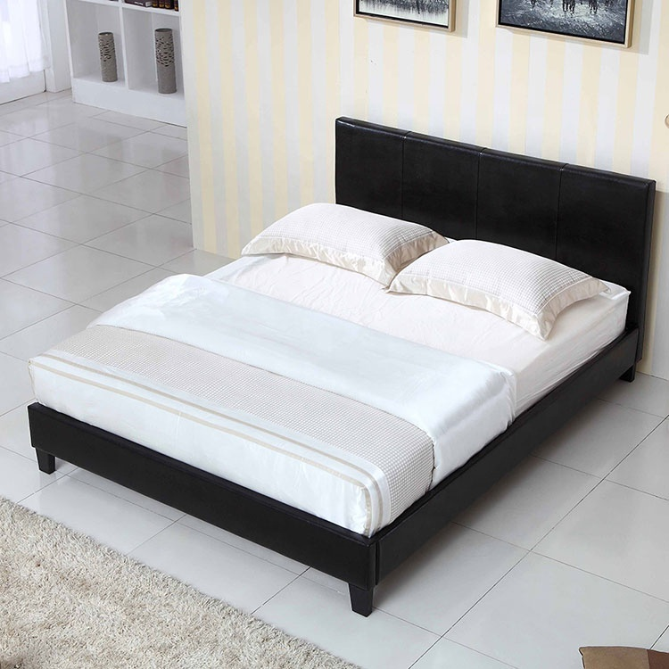 Cheap wholesale simple elegant flat bed frame Korean style hotel bedroom leather bed