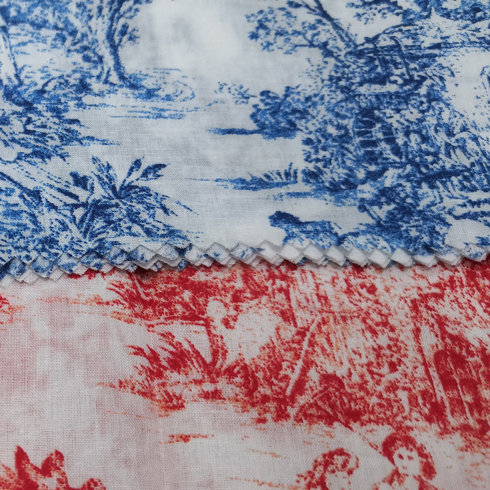 Landscape painting combed voile printed fine cloth cotton fabric for clothing shirt dress