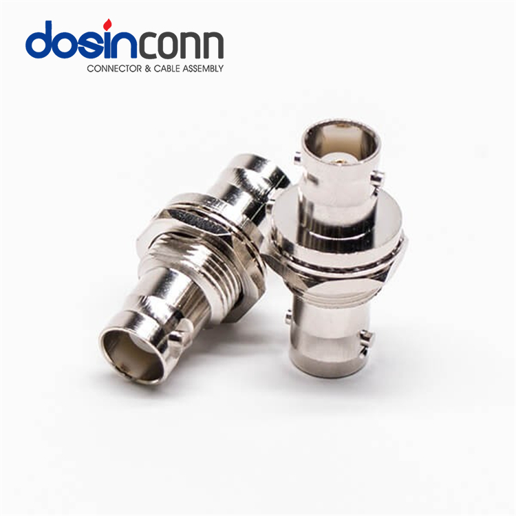 Straight Coaxial Adaptor 12g-sdi Sdi BNC Female to BNC Female Adapter with White Isolation Washer 50 Ohm 75 Ohms Crimp DC Cable