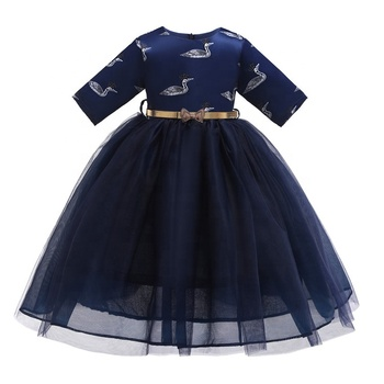 Girl Party Dress With Sleeves Gowns Dresses and Frocks for Little Girls Bling Animal Formingo Patterned Satin and Soft Mesh