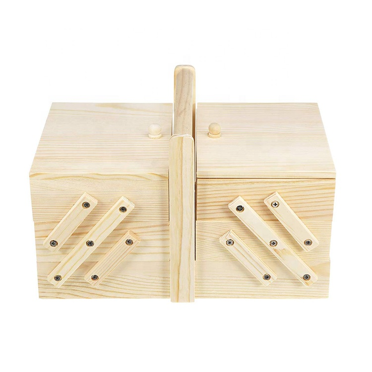 Layered morden folding wooden sewing storage tool box
