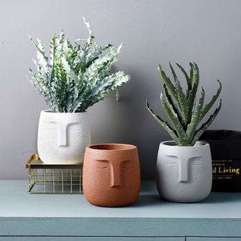 Concrete Planter Pots for Plants Modern Indoor/Outdoor Head Planter Face Vase Statue Plant Pot for Home Decoration Gift
