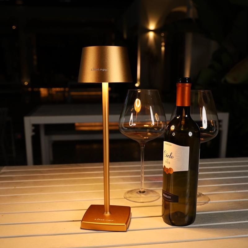 Декоративная Золотая настольная лампа для кафе столовой с регулируемой батареей, аккумуляторные светодиодные настольные лампы с абажуром