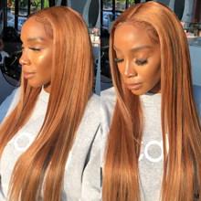 13х4 парики из человеческих волос на фронте с кружевом, бразильские прямые волосы, коричневый, блонд, красный prepucked парик с фронтальным кружев...(Китай)