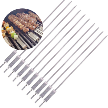 "17.7"" Long Flat Barbecue Stick Grilling Push Bar Stainless Steel Kabob BBQ Skewers"