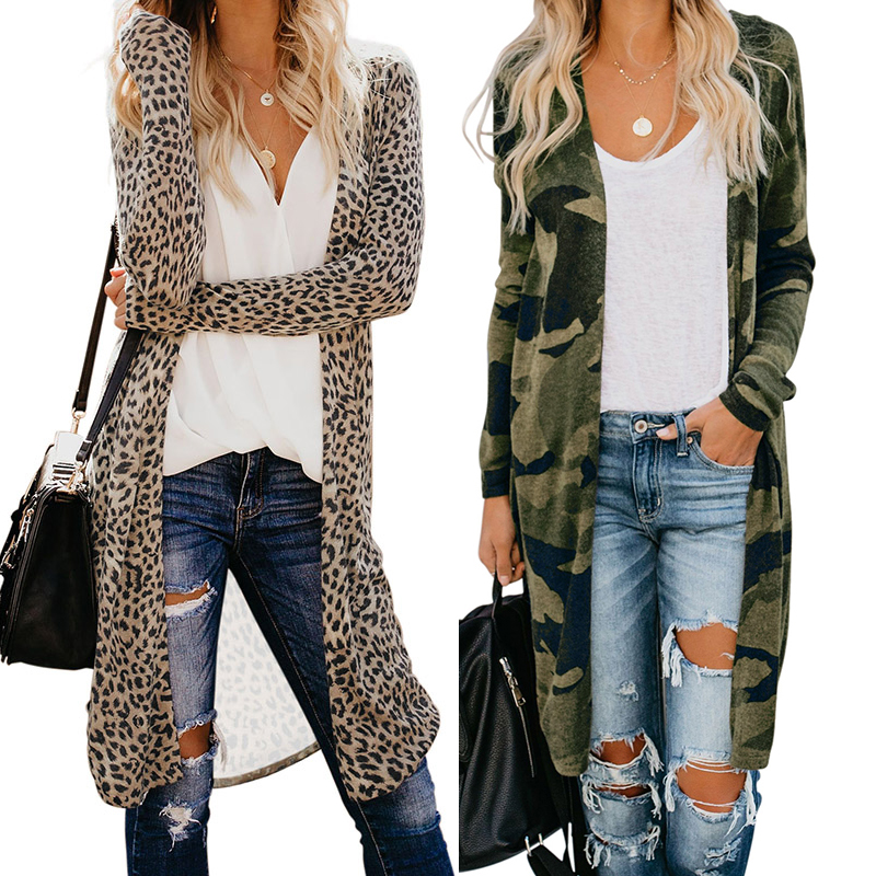 2021 Hot Style Manufacturer Fall Winter Casual Leopard Knit Maxi Long Cardigan For Woman