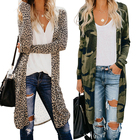 2021 Hot Style Manufacturer Fall Winter Casual Leopard Mujeres Knit Maxi Long Cardigan For Woman