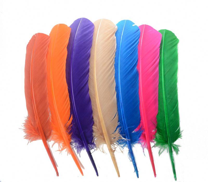 Оптовая продажа, высококачественные натуральные перья индейки HP-16, натуральная бронза, окрашенные перья индейки