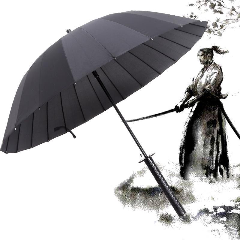 Оптом рекламный большой дождь Спорт Гольф солнце Прозрачный Зонт японский самурай катана меч пользовательский с логотипом принты ветрозащитный
