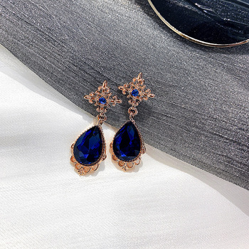 Blue gem palace drops crystal rhinestone earring