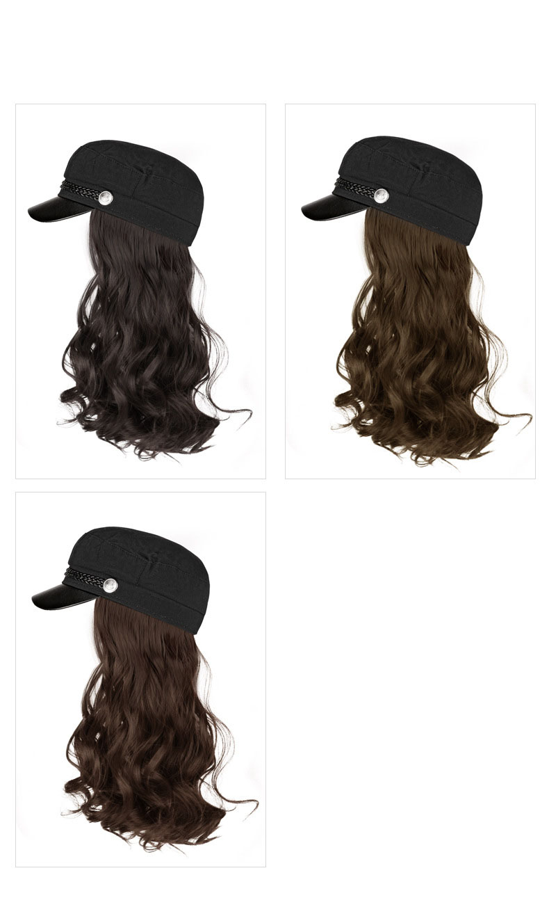 Black Hair Sports Cap Hat Synthetic Hairpiece Peaked Caps With Wigs Women Long Curls Straight Baseball Wig Hats