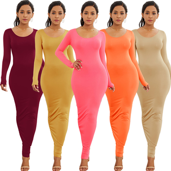 Women long sleeve Round Neck dresses sweater maxi Solid color sexy bodycon club dress