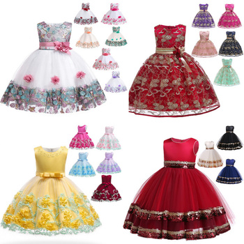 2019 latest designs hot sale lace birthday flower party children clothes wedding princess little kids clothing girls dress