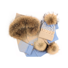 Girls Winter Wholesale 1-3y Kids Wool Knitted Natural Raccoon Fur Collar Baby Boys Girls Winter Coat Hat Scarf Set