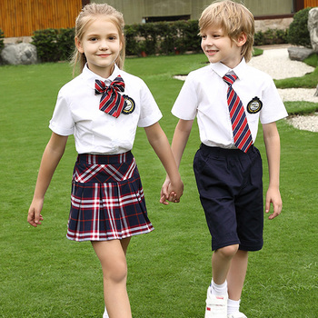 International Classic Kids Children Summer White Short Sleeve Shirt Suit Students Uniform School Shirt Set on Promotion