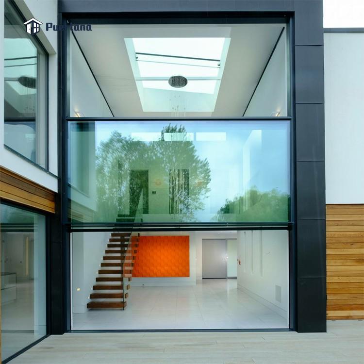 Наружная Выдвижная створчатая панорамная дверь с электрическим мотором алюминиевая вертикальная раздвижная дверь гильотинная оконная дверь