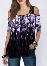 Женская футболка с принтом и открытыми плечами, Модная элегантная уличная одежда большого размера для лета(China)