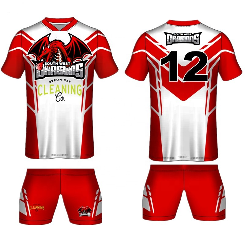 Custom design sublimation printing rugby league jersey uniform