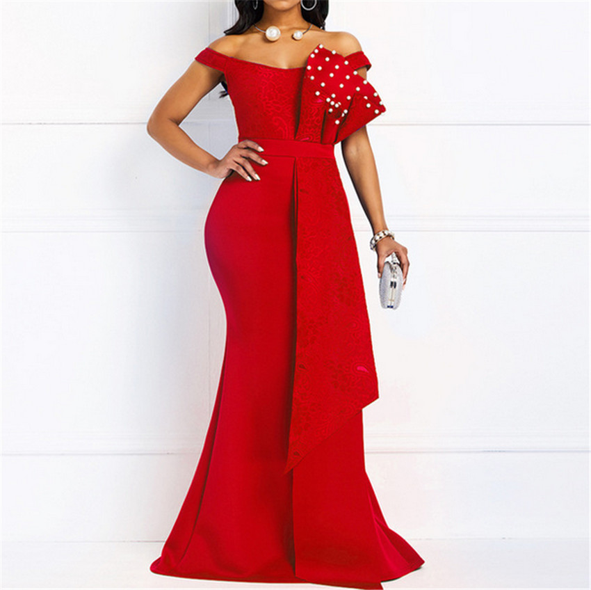 Wholesale Italy Beads Slim Long Dress Evening Gowns Dresses2021
