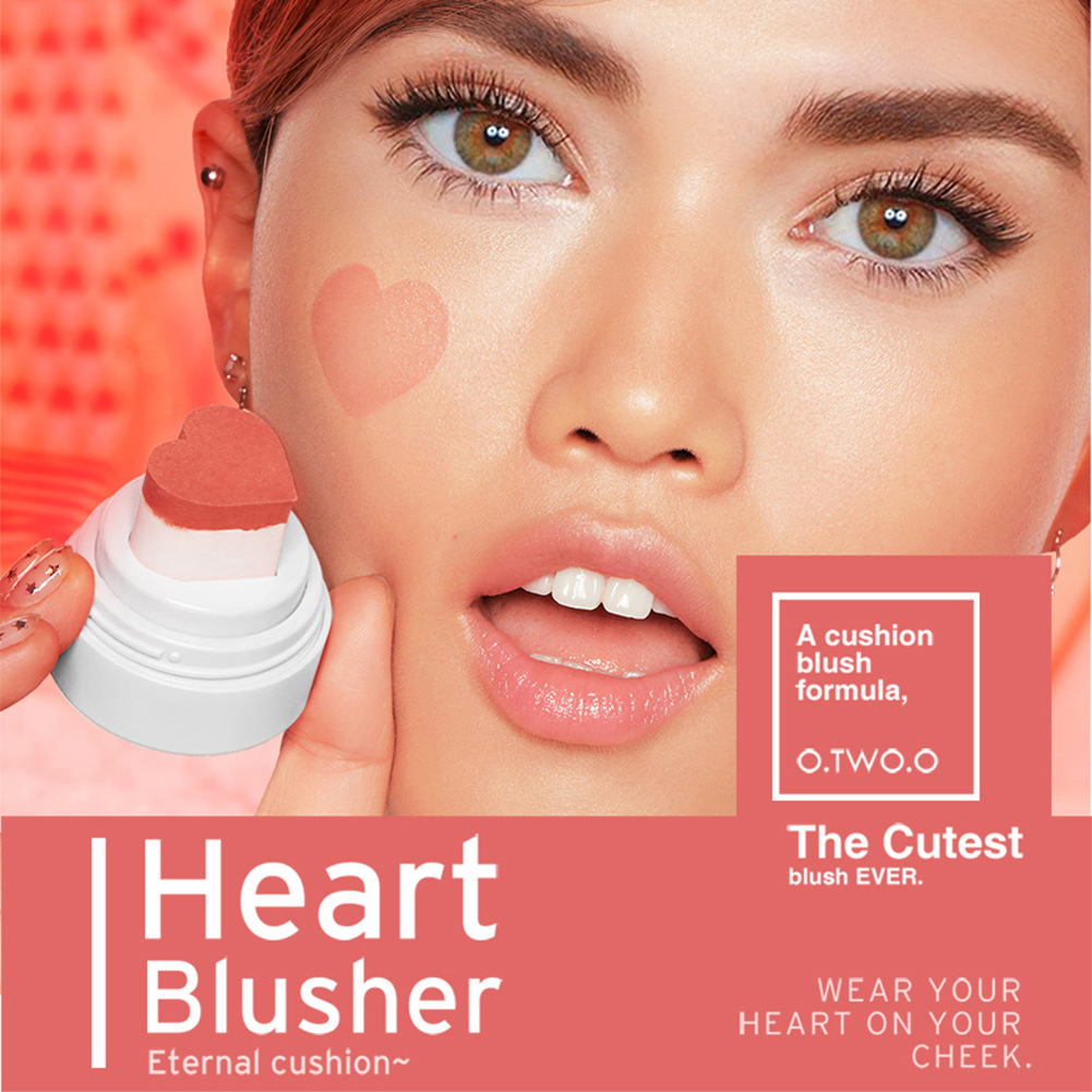 O.TWO.O Beauty Cushion Blusher Cute Heart Stamp Cream Blush Long Lasting Blusher