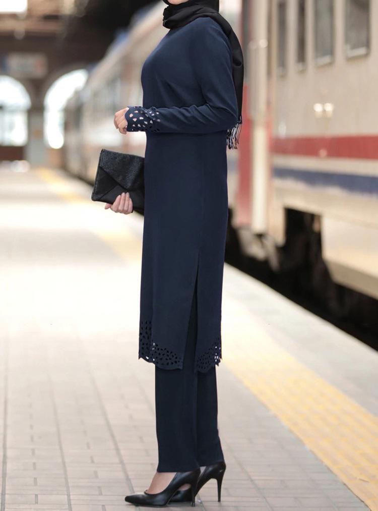 Women Prayer Burn flowers Long sleeve Set Middle East Muslim Dress Islamic Clothing