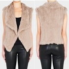 YR827 High Quality Custom Spring Short Knitted Real Knitted Rabbit Fur Vest For Women